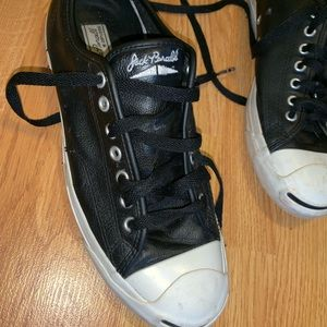 Gently used black leather jack purcell converse